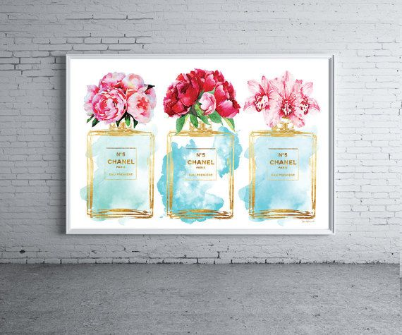 Teal perfume watercolor, Peony, Orchids, Peonies, Flowers, Chanel inspired, Teal and silver effect fashion watercolor, perfume bottle, Blue watercolor,Printed, wall art, fashion decor, fashion poster, make up, vanity