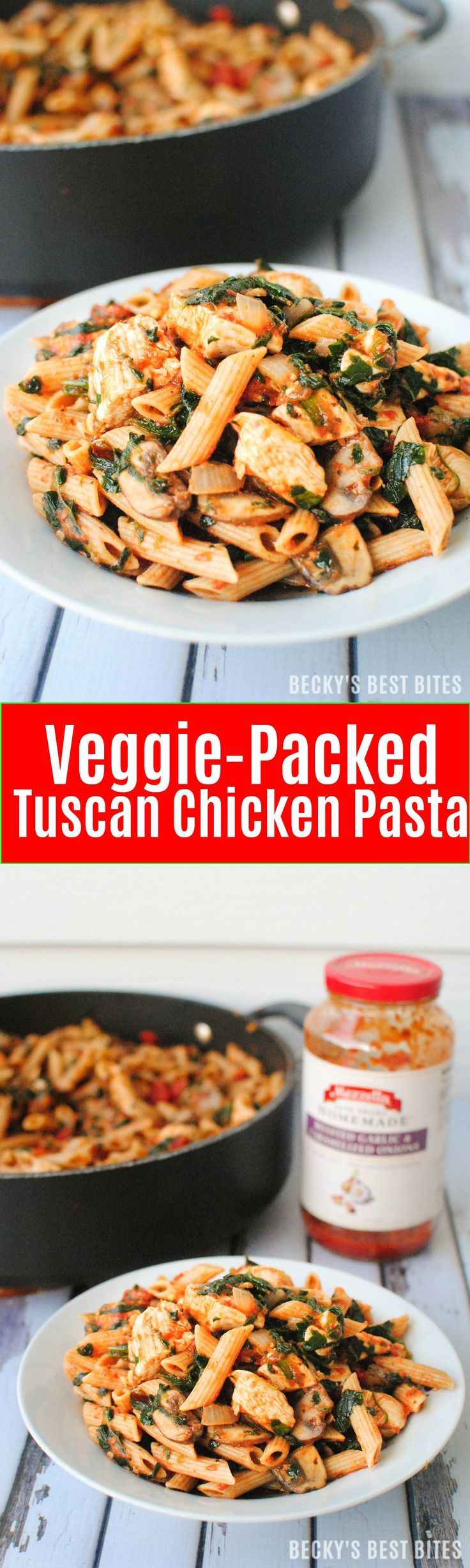 Veggie-Packed Tuscan Chicken Pasta is a healthy weeknight dinner recipe. Get a tasty meal loaded with mushrooms, tomatoes and spinach on the table in 30 minutes. | beckysbestbites.com #FallforFlavor #Ad