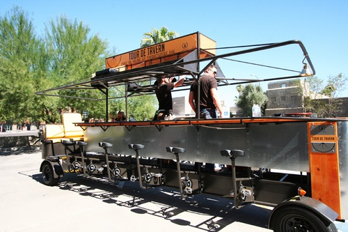 Today's Deal: Tour De Tavern $39.00!  A pedal powered party on wheels! The incredible work of modern mechanics is capable of holding up to 16 passengers and can achieve speeds of 5-8 miles per hour!