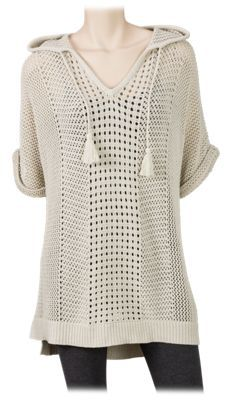 Natural Reflections Open-Knit Pullover Hoodie for Ladies - Oatmeal - 2XL