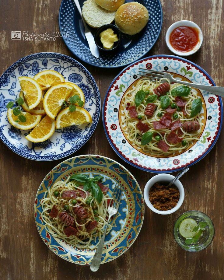 Spaghetti smoked beef aglio olio