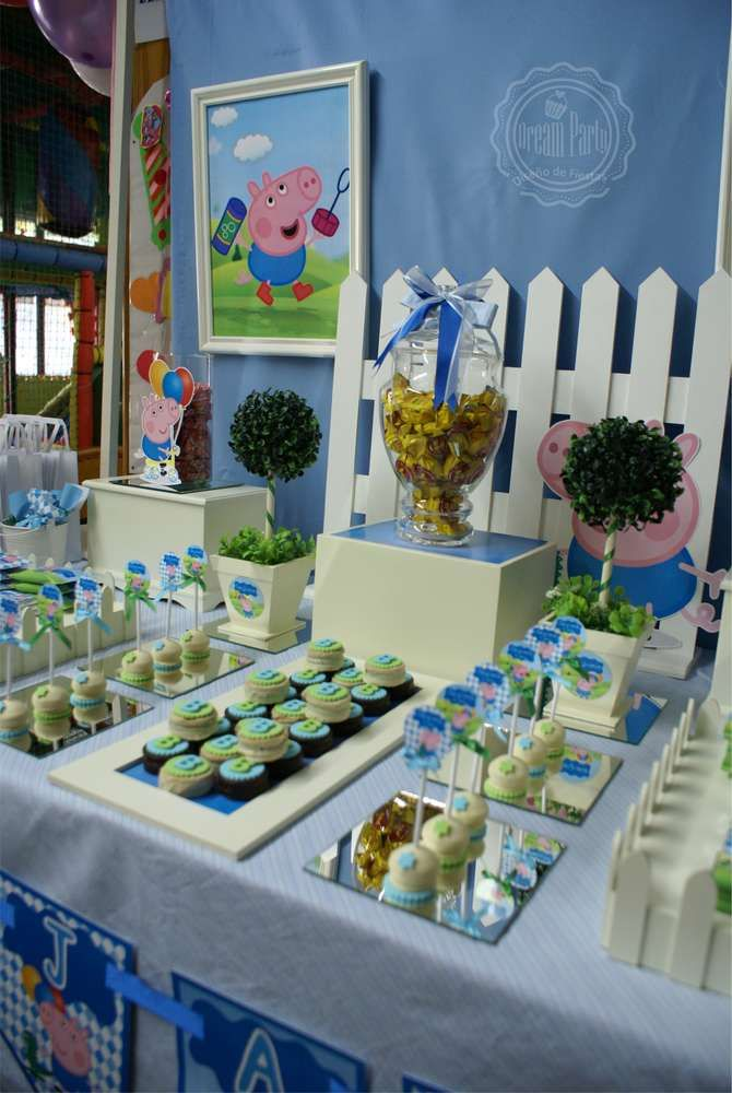 George Pig birthday party dessert table! See more party ideas at CatchMyParty.com!