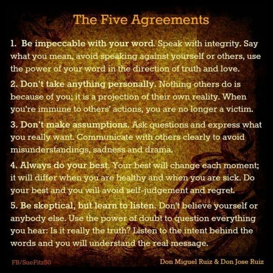 1 year goal: live according to the five agreements:  1) Be impeccable with your word. 2) Don't take anything personally. 3) Don't make assumptions. 4) Always do your best. 5) Be sceptical, but learn to listen.
