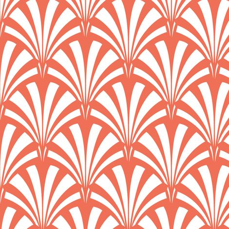 Art deco palm leaf sunrise fabric by tuppencehapenny on for Art deco fabric