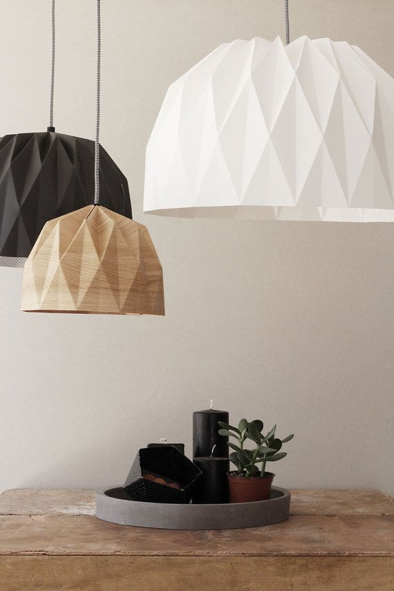 "Etsy Handmade Paper XL Origami Lamp, $130 for 20"" — may be able to do custom larger"