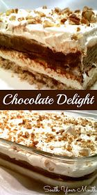 CHOCOLATE DELIGHT. aka Better Than Anything Cake, Better than Sex Cake, Sex in a pan, Robert Redford Cake. Mix 1 c flour, 1 cube soft butter, 1 c pecans, pinch salt. Press into 13x9 pan. Bake 25 min at 325*. Cool completely. Mix 8oz cream cheese with 1 c powdered sugar. Fold in 8 oz Cool Whip. Spread over crust. Mix 2 small boxes instant chocolate pudding with 3 c milk. Spread over cream cheese layer. Spread 8 oz Cool Whip on & sprinkle with 1/2 c chopped pecans. Can sub shaved choclate bar…