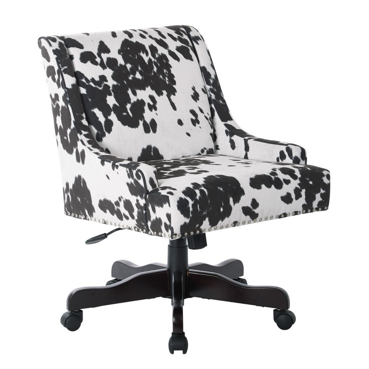 Inspired by Bassett Everton Midcentury Home Office Chair in Udder Madness Fabric with Silver Nail heads and Espresso Base (Udder Madness), Black