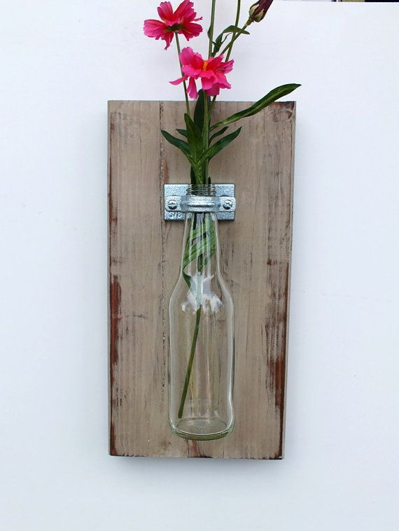 Handmade Hanging glass bottle Vase / Gray Vintage Color Home Decor / Wall Jar / Flower Plant Holder / Shabby Country Scone