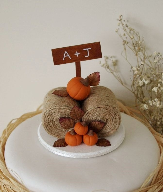 Rustic Pumpkin Hay Bales Cake Topper - Fall Wedding Cake Topper - Barn wedding Cake Topper - Farm Wedding Cake Topper - Pumpkin Cake Topper by TiaLovesArchie on Etsy https://www.etsy.com/listing/227659331/rustic-pumpkin-hay-bales-cake-topper