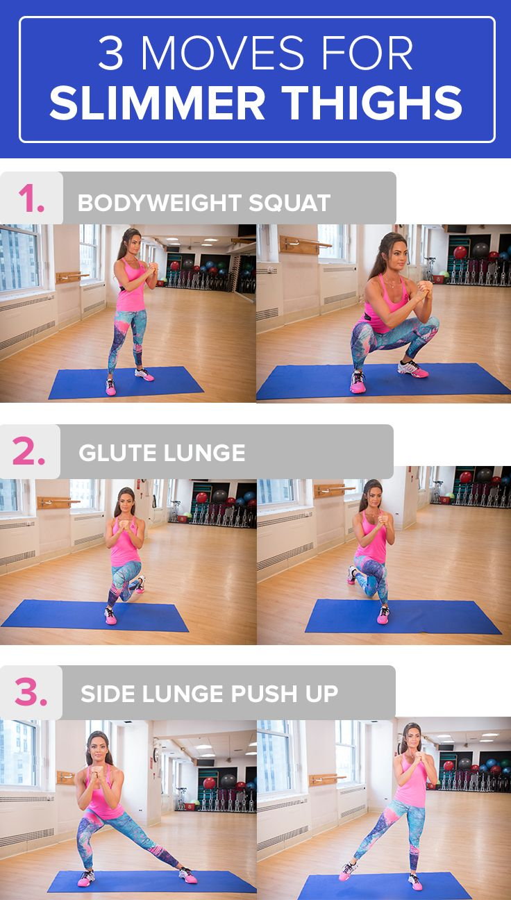Use these three easy workout moves to target your thighs. You can do these exercises at home.