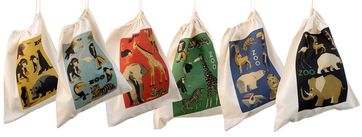 Cotton drawstring bags, Zoo animal kit bags, cloth bags for kids.