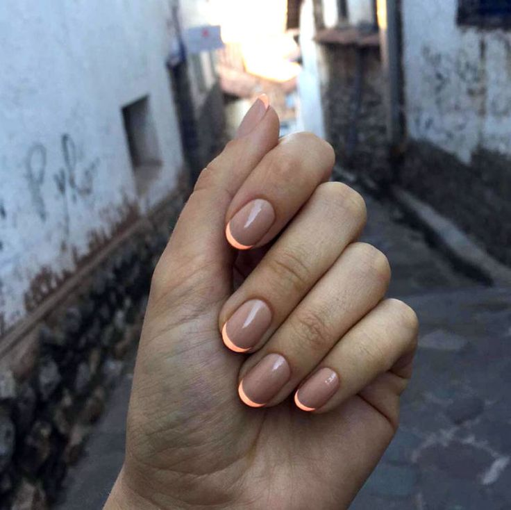Neon Is Back. Modern French Manicure with short nail, fine line and nude base