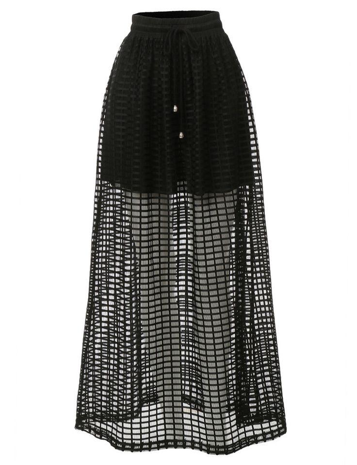 LE3NO Womens Lightweight Summer Fish Net Maxi Skirt