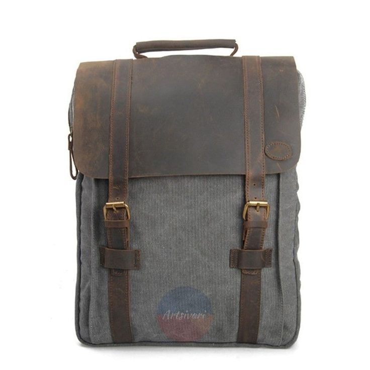 "Artsivaris New Vintage Large Canvas Leather Men Women Backpack 15"" Laptop Bag 
