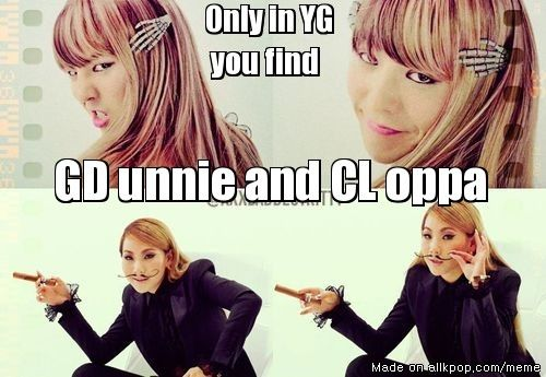 """""""only in YG..."""" XD lol GD unnie and CL oppa XD"""