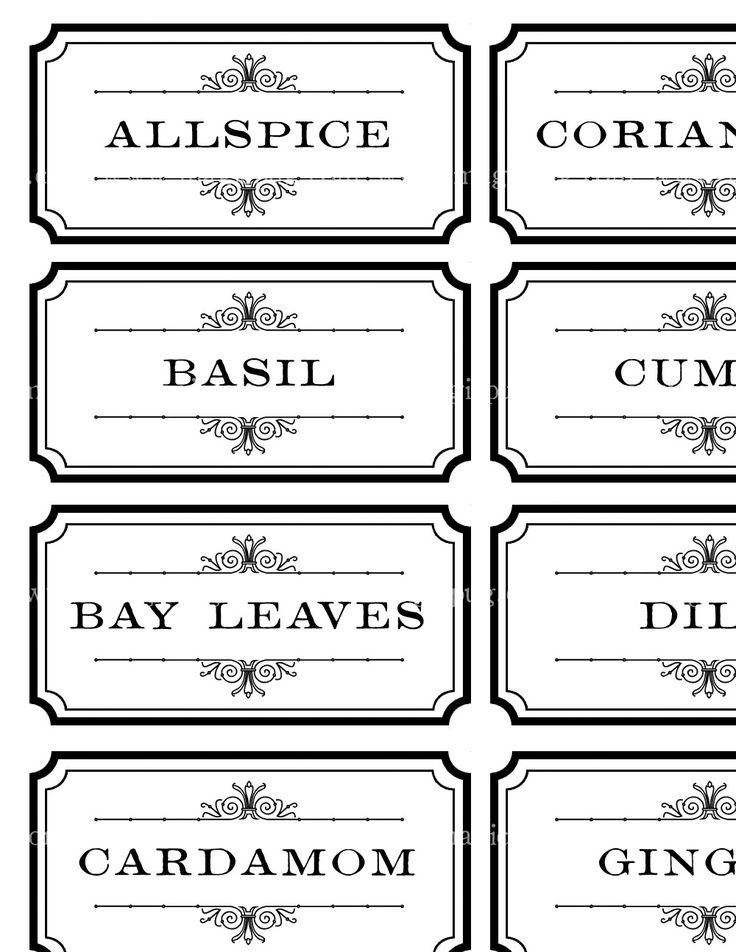 Black and White Spice and Herb Labels