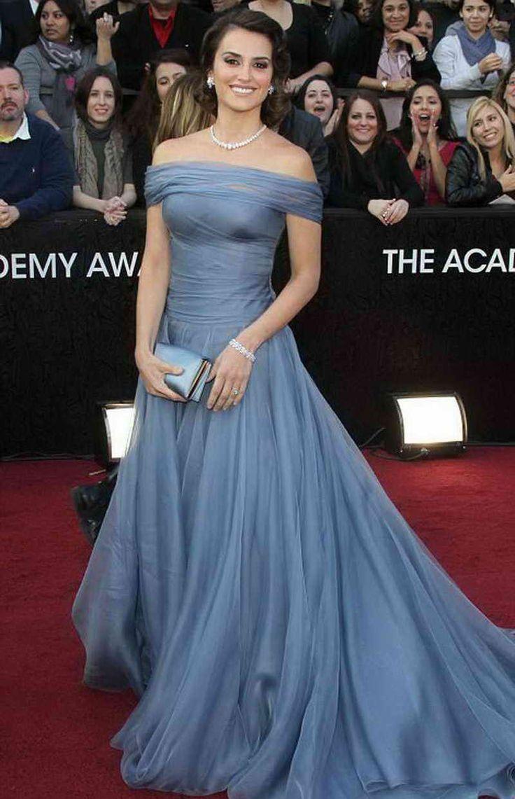 Penelope Cruz with Soft Blue Dress