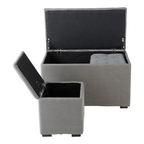 Banc et 2 poufs coffre en lin gris L 78 cm MARCEAU