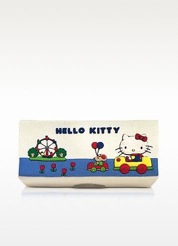 €476.00 | Aude Funfair Cotton Clutch crafted with silk embroidered detail and felt appliques on canvas, is from the Sentimental Journey collection of which inspiration comes from avant-garde publications and other pop art motifs such as Hello Kitty, created by Yuko Shimizu, from Japan. Featuring pencil box metal frame design with logo engraved magnetic closure. The cover is hand embroidered with felt appliques on a cotton canvas body. Internal print lining and leather card pocket on box top…