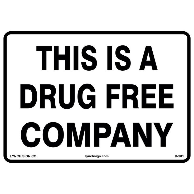 14 in. x 10 in. Drug Free Company Sign Printed on More Durable, Thicker, Longer Lasting Styrene Plastic, White With Black Lettering