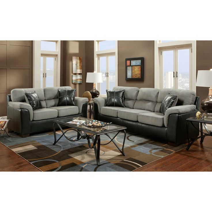 Furniturema Laredo Black And Grey Two Tone Sofa Made In Usa Sofas Living Room