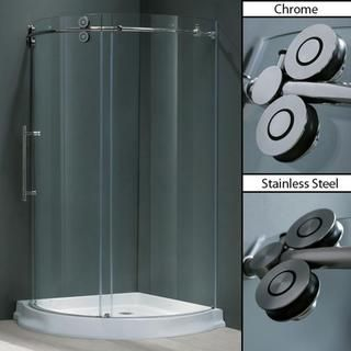@Overstock - Give your bathroom a modern look with this sleek round shower enclosure. Cleaning is easy because the enclosure is made out of non-porous material. The door opens to the left and moves effortlessly on specially designed rollers. It comes pre-assembled.http://www.overstock.com/Home-Garden/VIGO-36-x-36-Frameless-Round-5-16-Clear-Shower-Enclosure-Left-Sided-Door-with-Base/5770992/product.html?CID=214117 Add to cart to see special price