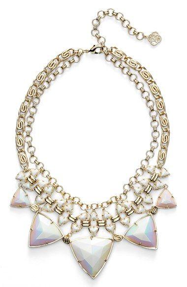 Women's Kendra Scott 'Emily' Stone Statement Necklace - Iridescent White Opaque Glass