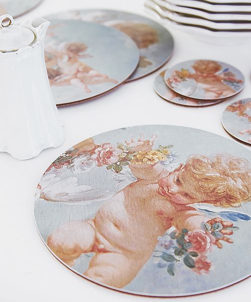 Designed by new designers Boho Co using details from fresco #paintings in the Palais de #Fontainebleau these sets of four cork-backed heat resistant #placemats
