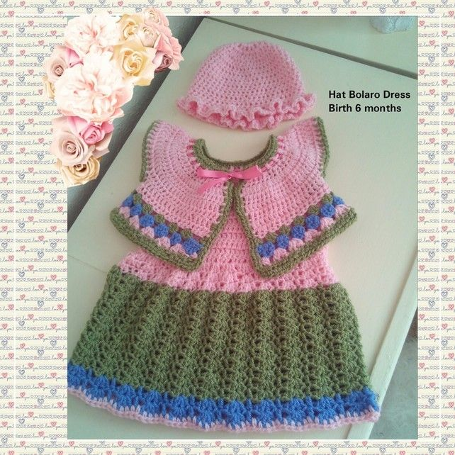 Hat Dress And Bolero Baby Costume, Babies Three Piece Clothes Set, Pink Green £22.00