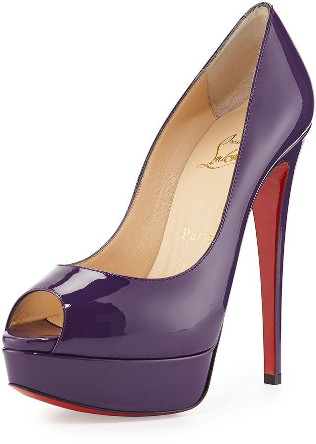 Christian Louboutin Lady Peep Patent Red Sole #Pumps, #Violet #Louboutin