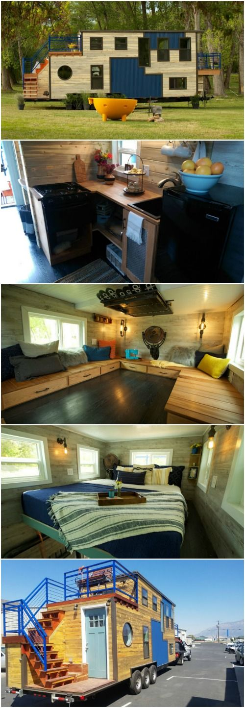 Hit the Slopes in this Tiny House Designed for its Ski-Loving Owner - When the builders at Maximus Extreme Living Solutions are contacted about building a tiny home for their customers, they say they're limited by three things only: imagination, budget, and laws of gravity. This next tiny house shows just how true that is! Featuring blue metal accents and light wood siding, this home has several decks and resembles a puzzle more than a house!
