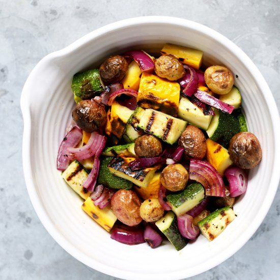 Grilled Potato Salad w/ Charred Lemon Dressing is an easy and healthy alternative to the traditional potato salad.  Perfect for Summer!!