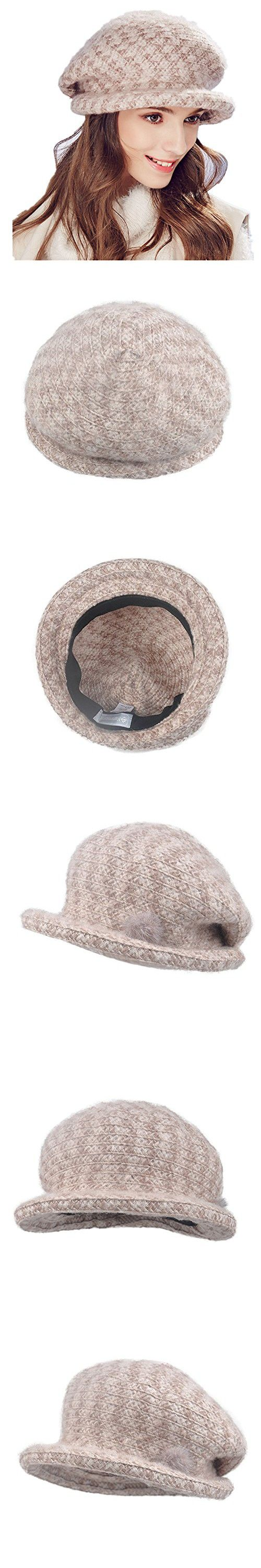 Kenmont Autumn Winter Women Beret Hat Lady Outdoor Acrylic Bucket Cap (Apricot)
