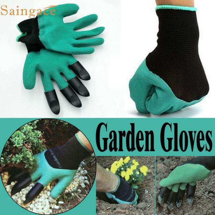 AP 4 Venta Caliente Del Envío Rápido 1 par nuevo Guantes de Jardinería de jardín Plantación Excavación con 4 Garras de Plástico ABS