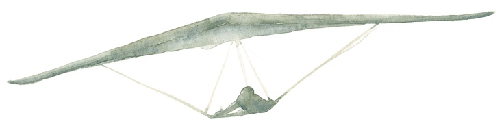 Deltaplano, acquerello su carta, © andrea baglieri 2003 - www.bomastudio.it