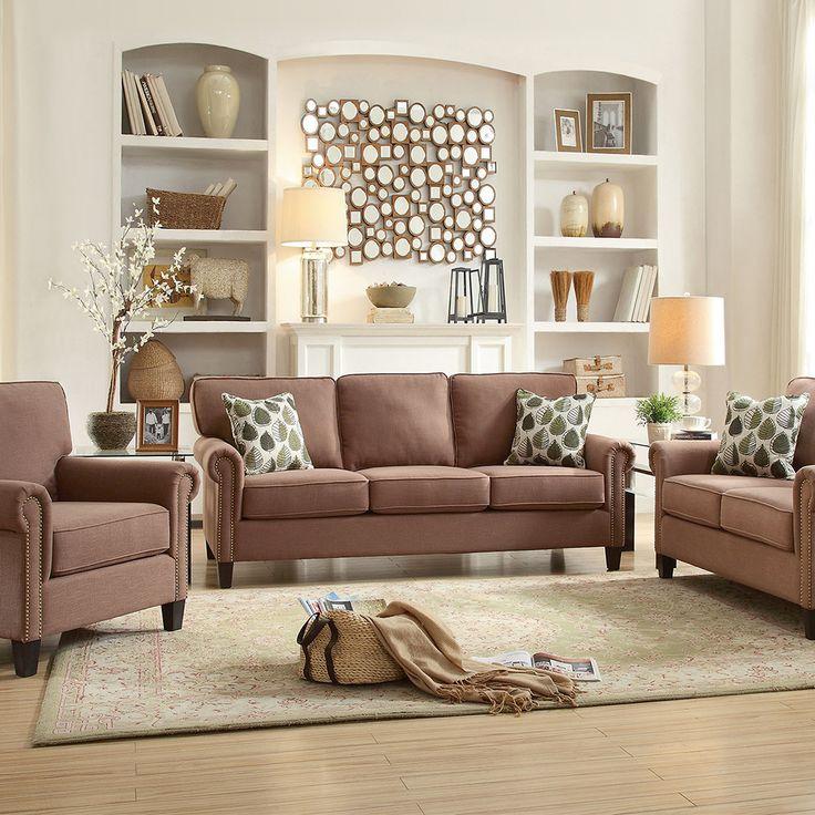 Canapeaua cu 3 locuri Felise are un aspect primitor și elegant, conferit de tapițeria din stofă maro și de cele doua perne decorative incluse. #mobexpert #reduceri #canapele