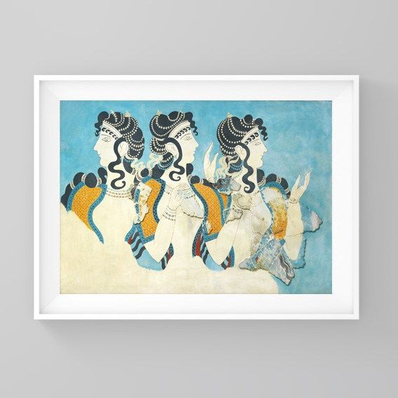 Ladies in Blue Fresco poster from Labyrinth of Daedalus