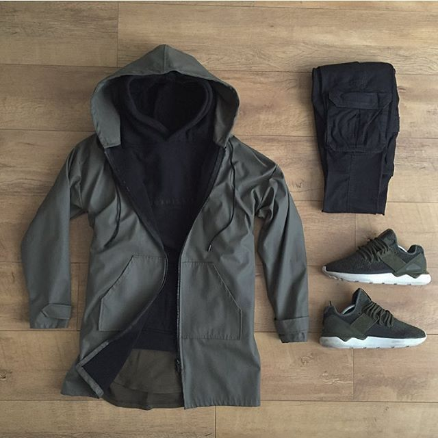 WEBSTA @ kylescropper - Yesterday's #outfitgridRepresent Olive rubberised jacket Submission military hoodie H