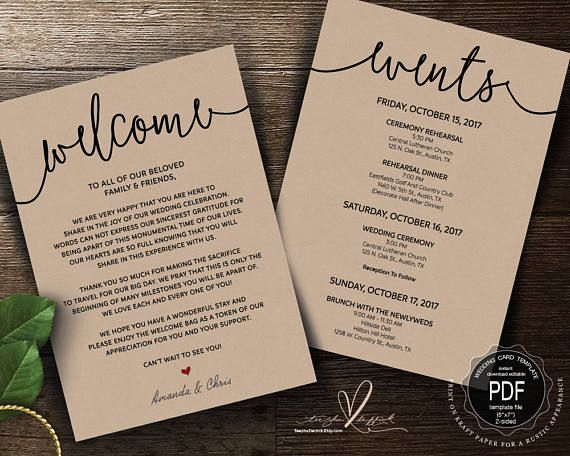 Wedding Welcome And Itinerary Card Editable Pdf Template Wedding Programs Wedding Welcome Card Template