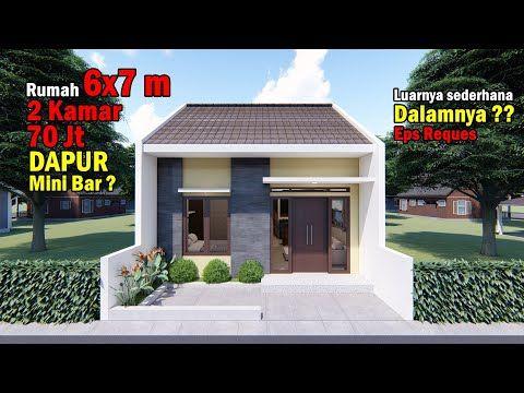 desain rumah 6x7 m dengan 2 kamar tidur dapur mini bar