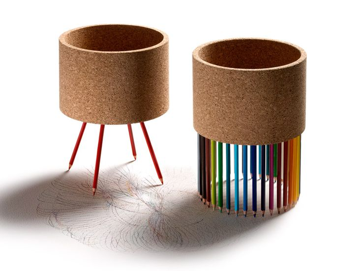portuguese designer fernando brizio has developed 'furo' and 'senta' for the collection, both of which explore the idea  of a main cork centrepiece whose purpose and function is enhanced through the use of 'legs'.