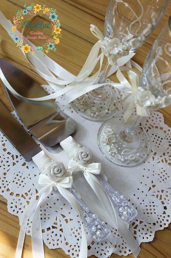 Elfenbein Hochzeit Kuchen Messer Set Rosen Hochzeit