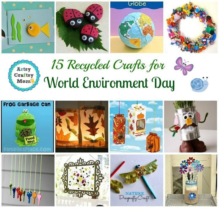 15 Recycled Crafts for World Environment Day @Artsy Craftsy Mom