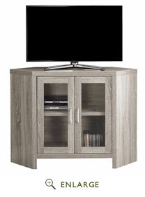 "TV Stand - 42""L / Dark Taupe Corner w/ Glass Doors - Monarch Specialty I-2701"