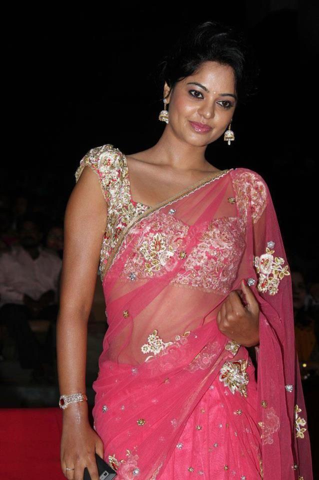 Bindu Madhavi in Pink Net Saree - MinMit Clothing