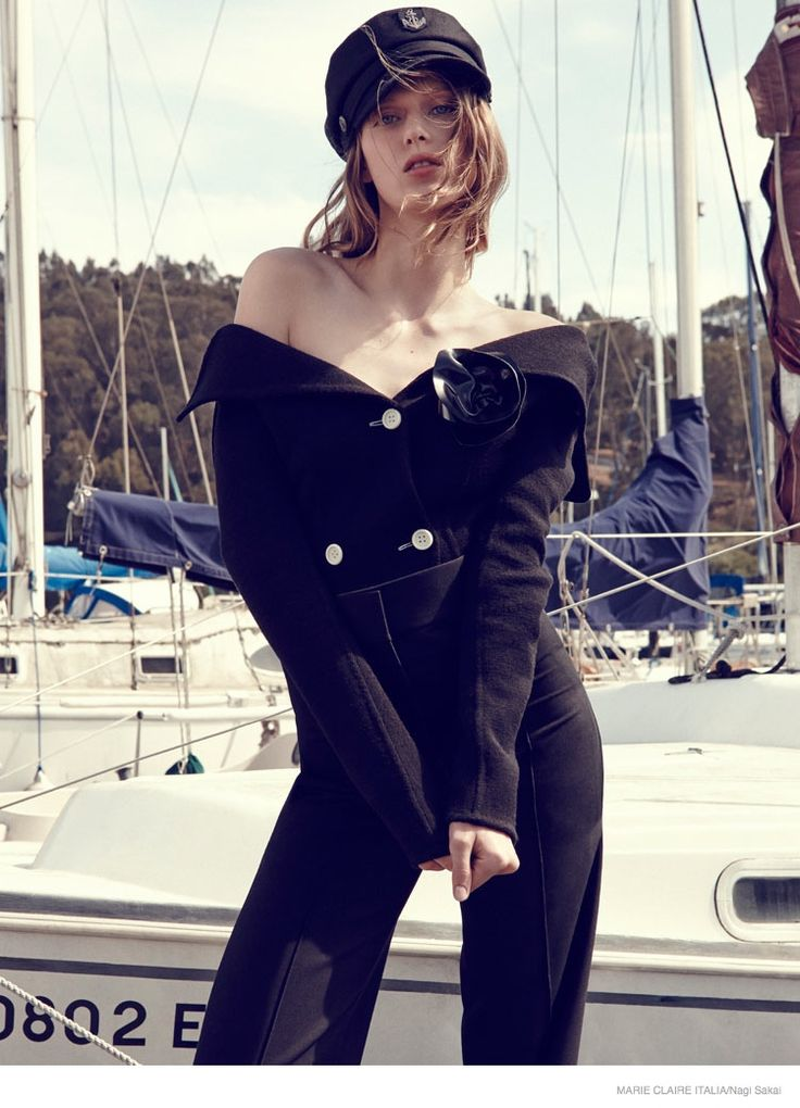 nautical sailor fashion shoot06 Tess Hellfeuer in Nautical Style for Marie Claire Italia by Nagi Sakai