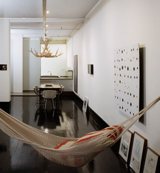 9 unique ways to decorate an open floor plan  An indoor hammock makes for an unexpected and impromptu lounging corner in this narrow loft by New York–based architect David Hotson.
