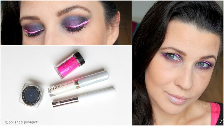 Bold makeup look in navy blue and neon pink, described in English and French for the Monday Shadow Challenge. Look de maquillage audacieux en bleu marin et fuchsia néon pour le Défi du lundi.
