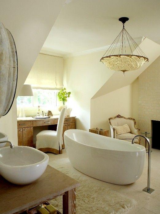 Beautiful Bathroom Chair Rail Specifics Please: All White, Fresh Bathroom With A Luxurious French Chair