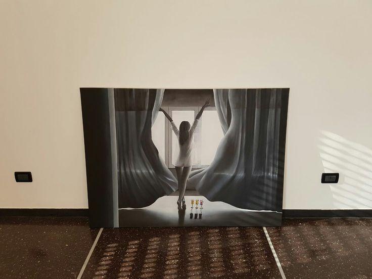 Autore, NICOLA SORIANI.   Titolo  , respiri.  Anno, 2017.  Tecnica,  olio su tela. Dimensioni,  cm 140 x cm 100